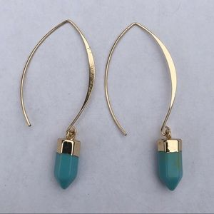 Jewelry - Gold and Turquoise Dangle Earrings
